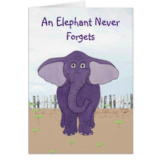 Un elefante nunca olvida - la tarjeta de