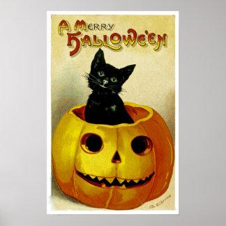 Un feliz gatito de Halloween Póster