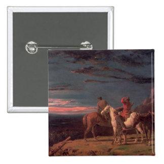 Un fiesta de exploradores, 1851 (aceite en lona) chapa cuadrada 5 cm