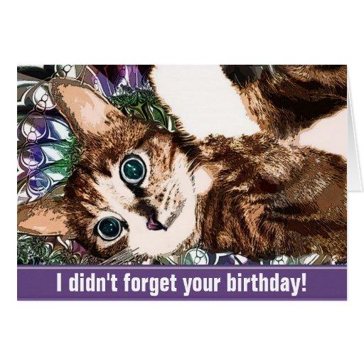Un gatito en no olvidé su tarjeta de cumpleaños
