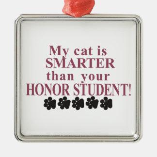 Un gato más elegante adorno cuadrado plateado