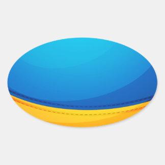 Un globo colorido del aire caliente colcomanias ovaladas personalizadas