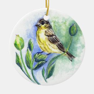 Un Goldfinch, hembra, lápiz de la acuarela Adorno Redondo De Cerámica