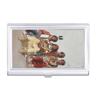 Un grupo de indios del vintage de los niños del cajas de tarjetas de negocios