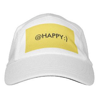 Un @HAPPY blanco y amarillo:) gorra de punto Gorra De Alto Rendimiento