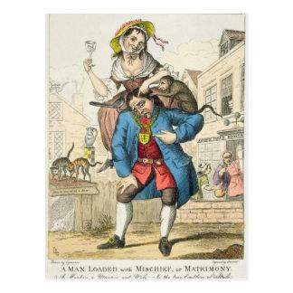 Un hombre cargó con travesura, o el matrimonio, postal