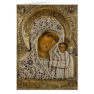 Un icono que muestra a la Virgen de Kazán Tarjeta De Felicitación
