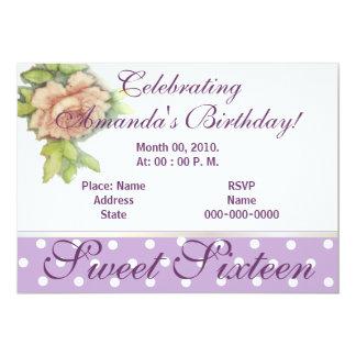Un Invitación-Personalizar subió dieciséis dulces Invitación 12,7 X 17,8 Cm