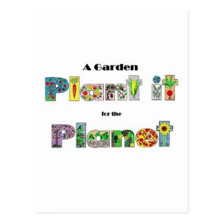 Un jardín, lo planta para el planeta, lema postal