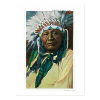 Un jefe indio PortraitColorado del Arapahoe Postal