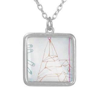 Un juego de la cuenta de cristal de los geómetras collar plateado