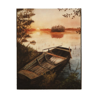 Un lago en la puesta del sol impresión en madera
