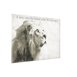 Un león corre el más rápido cuando él tiene hambre lienzo