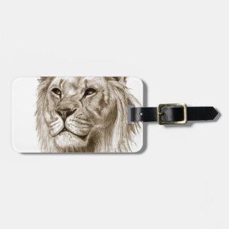 Un león - sin arte del bosquejo del dibujo del etiqueta para maletas