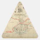 Un mapa auténtico de 1690 piratas (con adornos) pegatina triangular