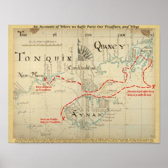 Un mapa auténtico de 1690 piratas (con adornos) póster