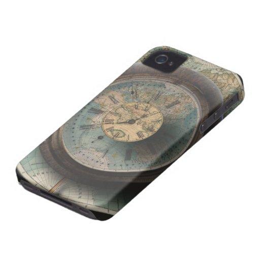 Un mapa del mundo del reloj de Steampunk del tiemp iPhone 4 Protectores