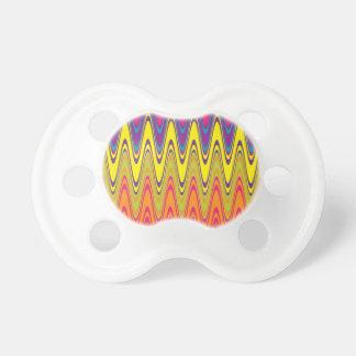 Un modelo de onda amarillo rosado de neón retro chupetes para bebés