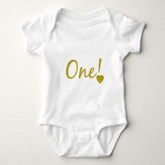 Un mono año del jersey del bebé del brillo del oro