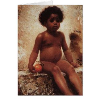 Un muchacho árabe con un naranja por Makovsky Tarjeta De Felicitación