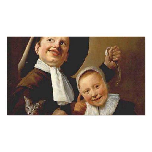 Un muchacho y un chica con un gato, una anguila de plantillas de tarjetas personales