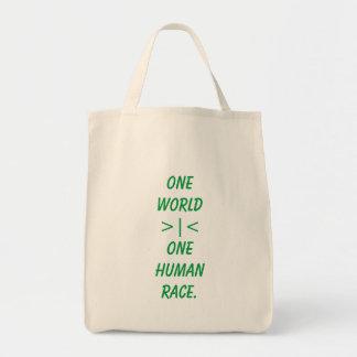Un mundo, la una bolsa de asas de la raza humana
