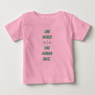 Un mundo, una camisa del niño de la raza humana