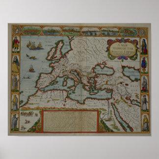 Un nuevo mapa del imperio romano póster