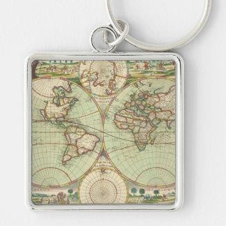 Un nuevo mapp del atlas del mundo llavero cuadrado plateado