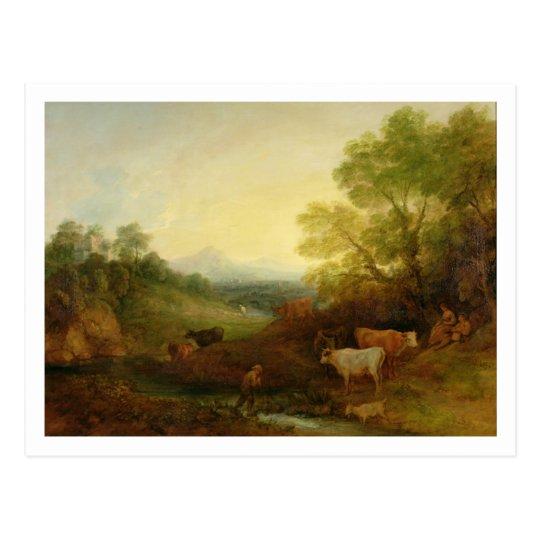 Un paisaje con ganado y figuras por una corriente postal