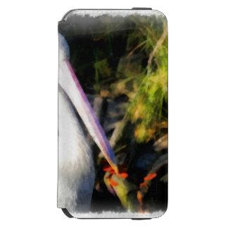 Un pájaro blanco y su pico grande funda cartera para iPhone 6 watson