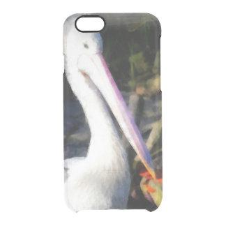 Un pájaro blanco y su pico grande funda transparente para iPhone 6/6S