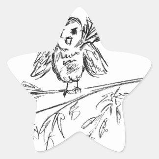 Un pájaro, el pío original pegatina en forma de estrella