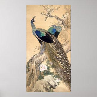 Un par de pavos reales en arte del japonés de la