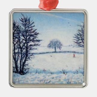 Un paseo de los inviernos adorno navideño cuadrado de metal