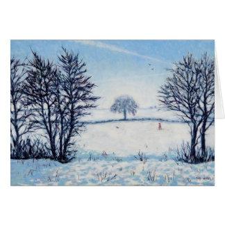 Un paseo de los inviernos tarjeta de felicitación