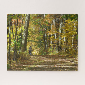 Un paseo en el rompecabezas de maderas del otoño