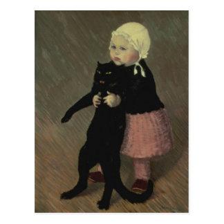 Un pequeño chica con un gato, 1889 postal