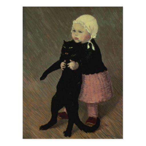 Un pequeño chica con un gato, 1889 tarjeta postal