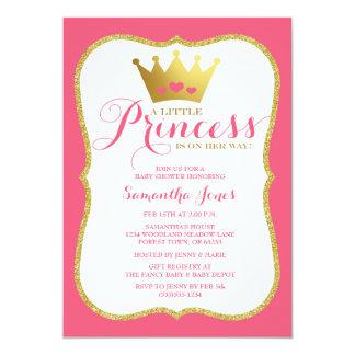 Un pequeños rosa y oro de la princesa fiesta de invitación 12,7 x 17,8 cm