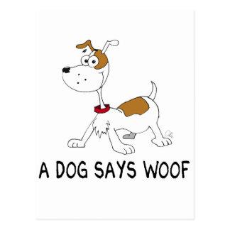 Un perro dice tejido postal