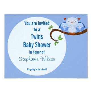 Un pitido de los gemelos de los búhos de un azul invitación 10,8 x 13,9 cm
