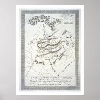 Un plan de la batalla de Waterloo gloriosa (engrav Póster