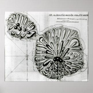 Un plan de rey Jorte Island u Otheite, 1769 Poster