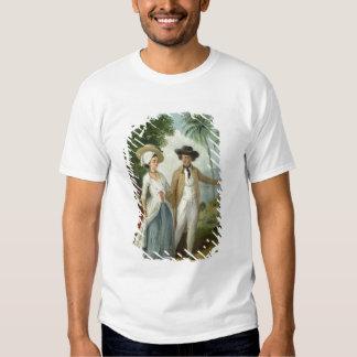 Un plantador y su esposa, asistidos por un criado, camisetas