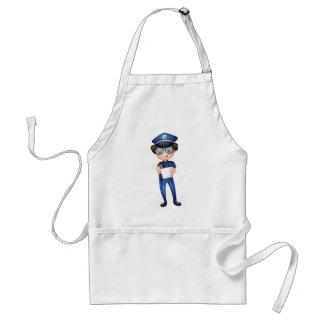 Un policía con una pluma y un papel delantal