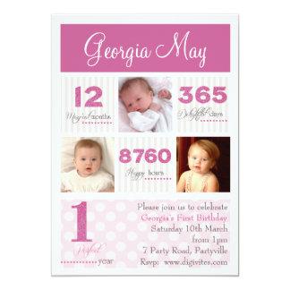 Un primer cumpleaños de la primera niña del año invitación 12,7 x 17,8 cm