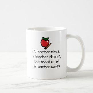 Un profesor cuida taza de café