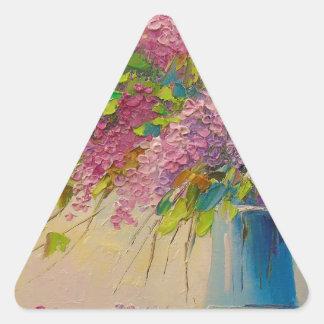 Un ramo de lilas pegatina triangular
