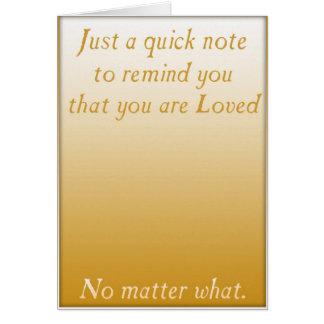 Un recordatorio rápido del amor (oro) tarjeta de felicitación